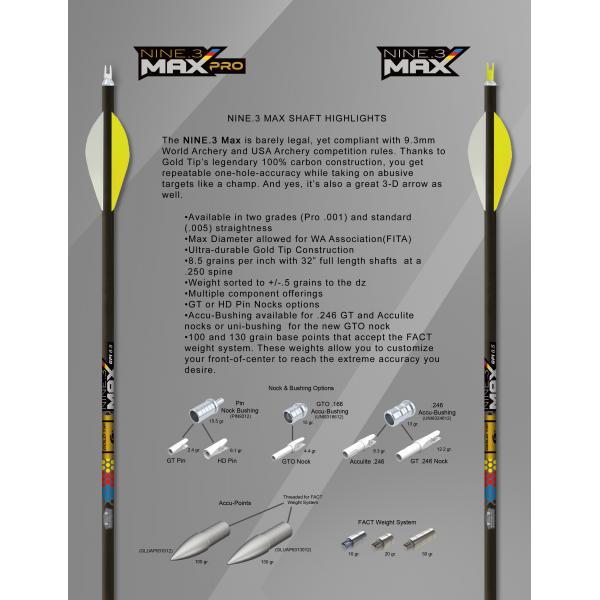 TUBO MAX NINE 3 GOLD TIP